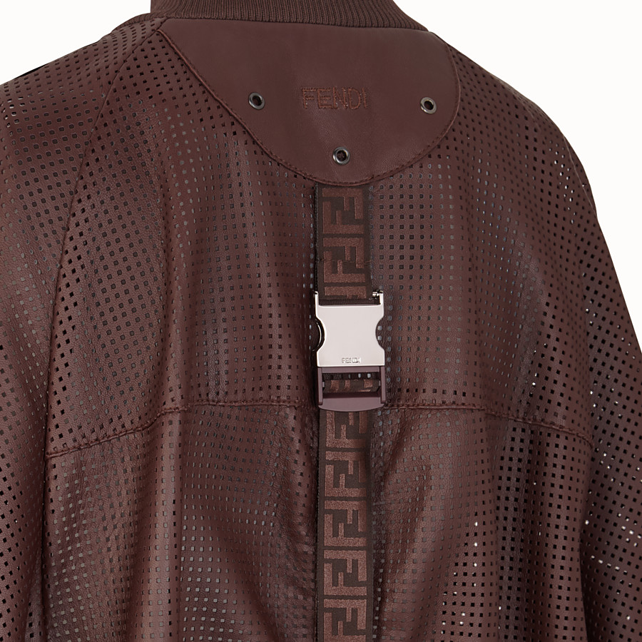 FENDI BOMBER - Brown nappa leather bomber jacket - view 3 detail