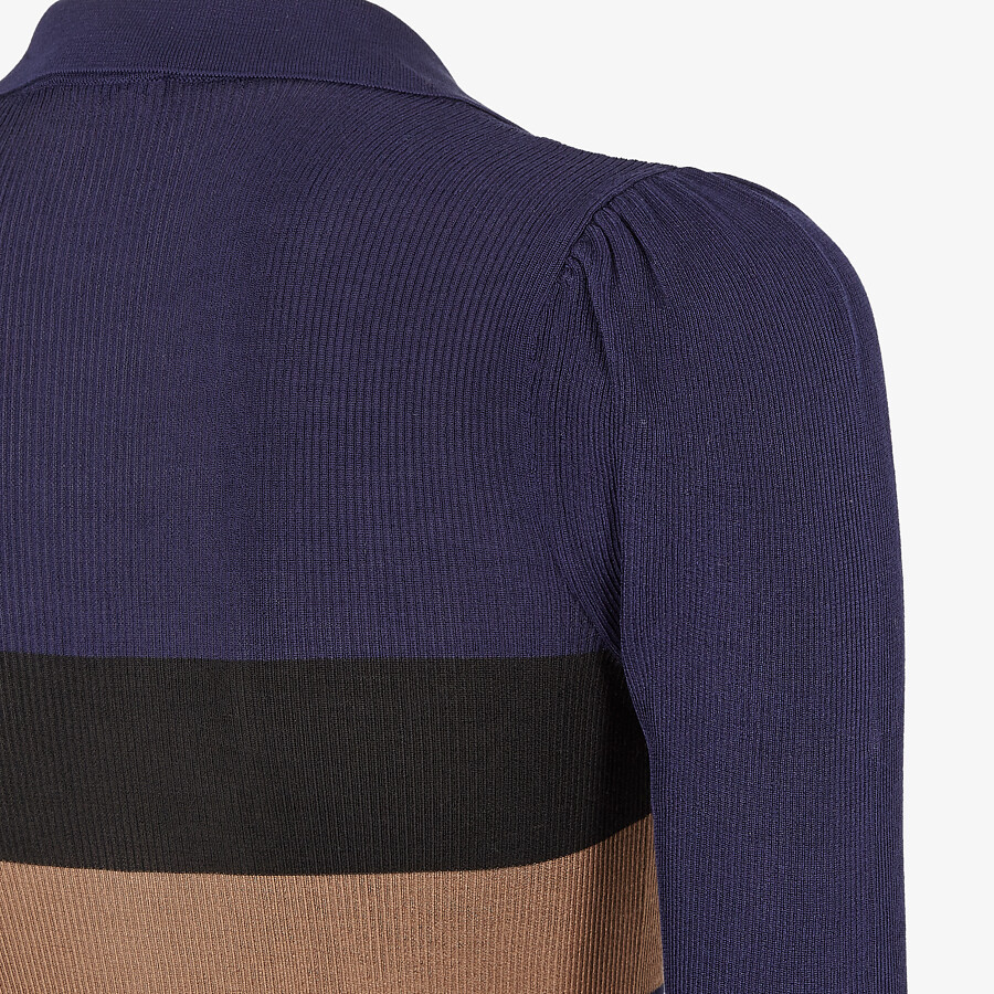 FENDI PULLOVER - Blue silk polo shirt - view 3 detail