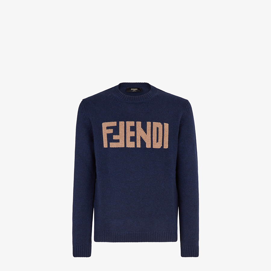 FENDI SWEATER  - Blue cashmere sweater - view 1 detail