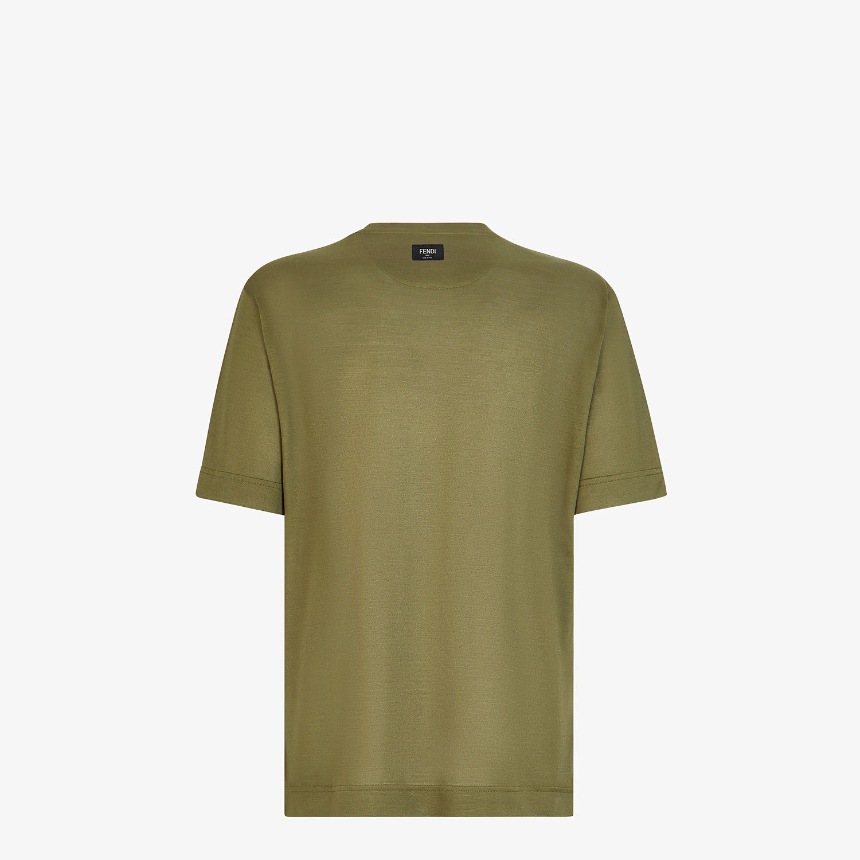 FENDI T-SHIRT - Green silk T-shirt - view 2 detail