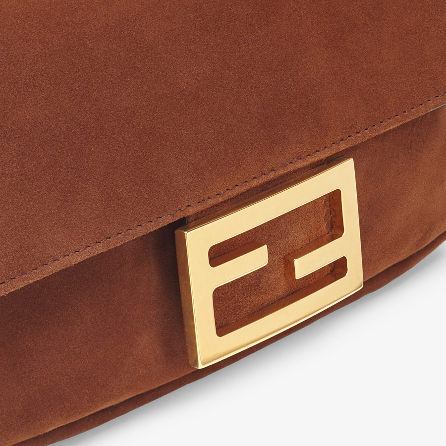 FENDI MINI BAGUETTE - Brown suede bag - view 5 detail