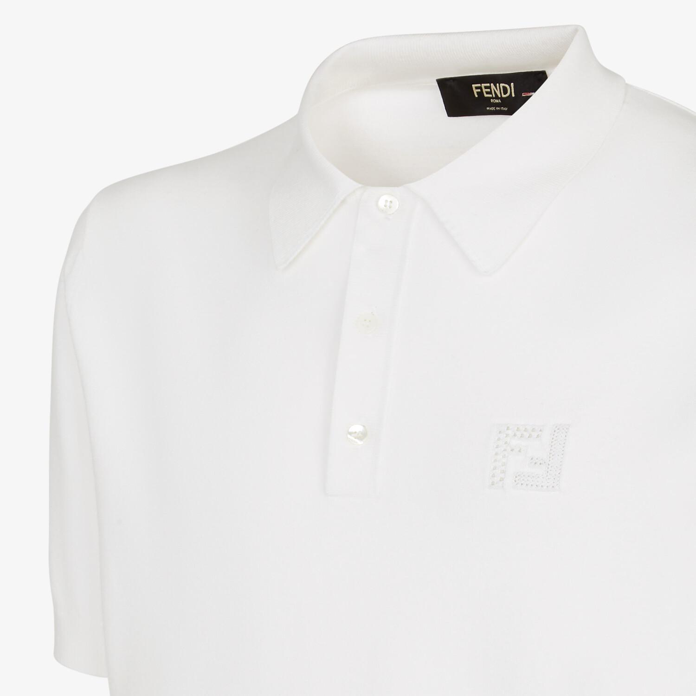 FENDI POLO SHIRT - White cotton polo shirt - view 3 detail
