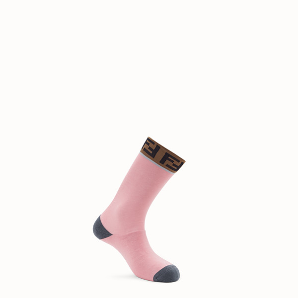FENDI CHAUSSETTES - Chaussettes en coton stretch rose - view 1 small thumbnail