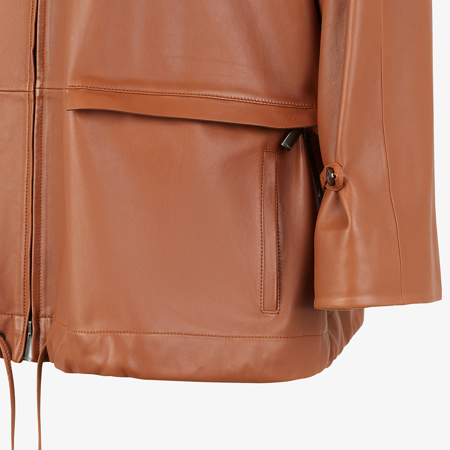 FENDI TRENCH COAT - Brown leather jacket - view 4 detail