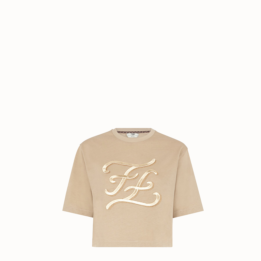 FENDI T-SHIRT - Beige cotton T-shirt - view 1 detail