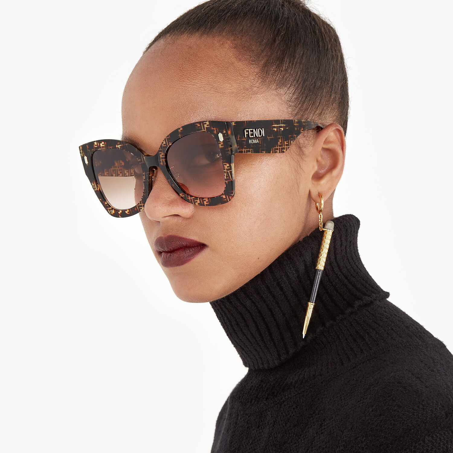 FENDI FENDI ROMA - FF Havana acetate sunglasses - view 4 detail