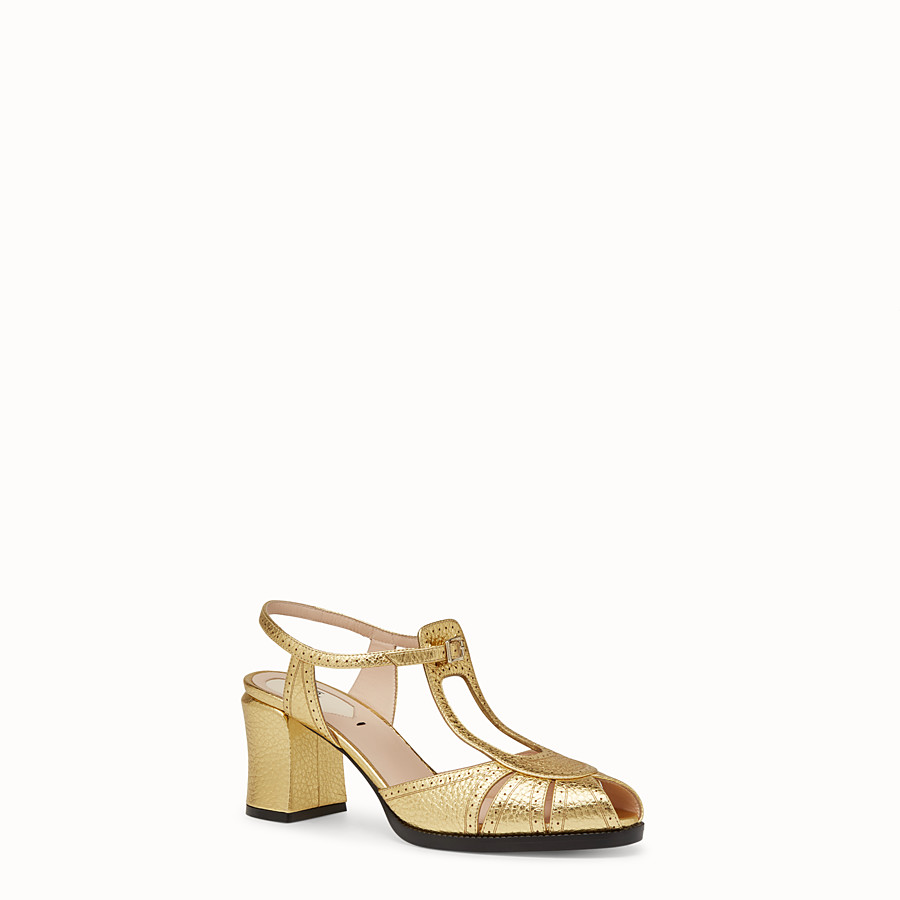 FENDI SANDALS - Gold laminated leather sandals - view 2 detail