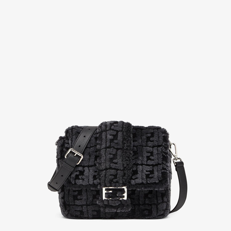 FENDI BAGUETTE MESSENGER BAG MEDIUM - Black and gray shearling bag - view 1 detail