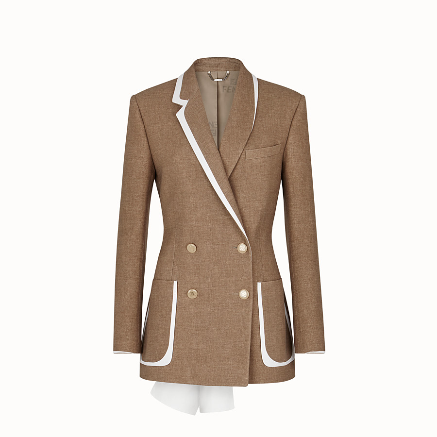 FENDI JACKET - Beige silk and wool jacket - view 1 detail
