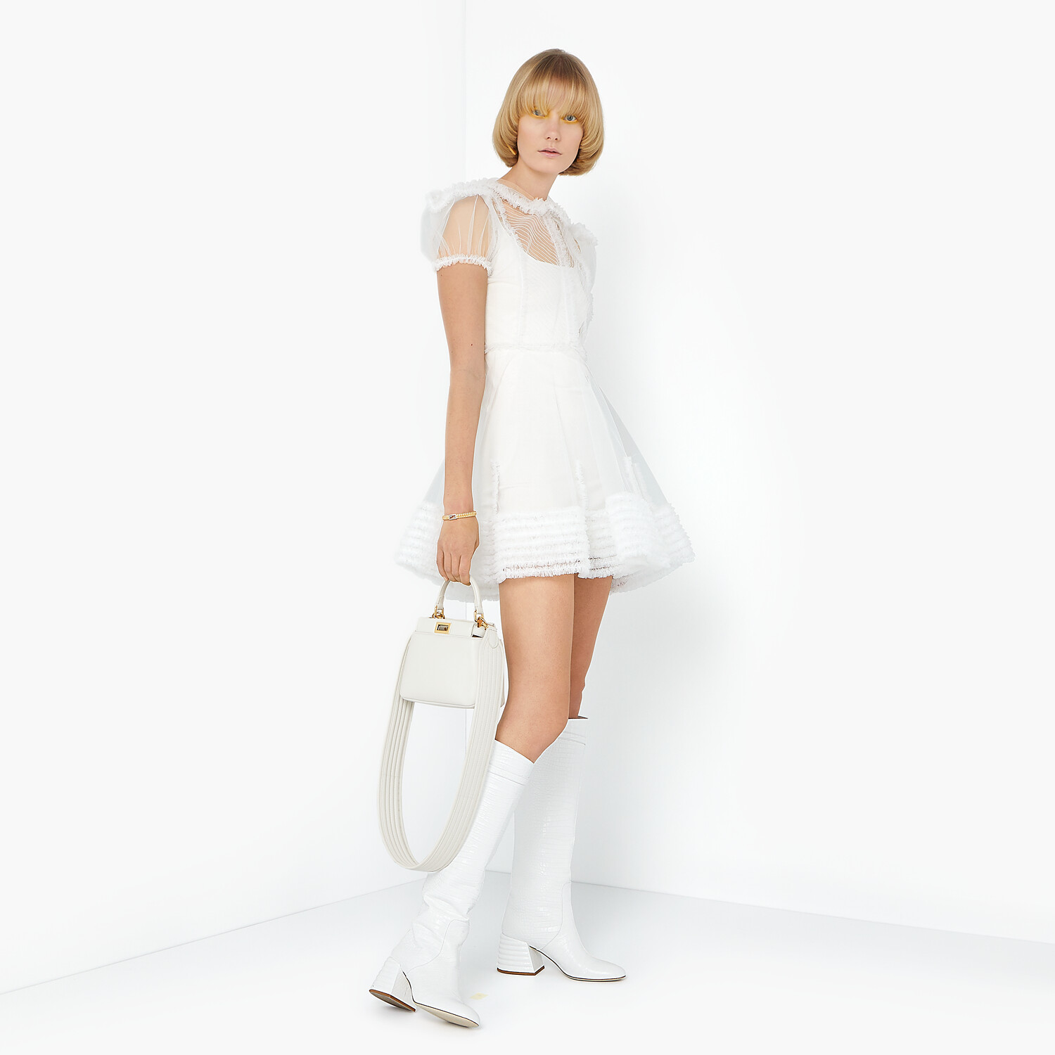 FENDI PEEKABOO ICONIC XS - White nappa leather bag - view 2 detail