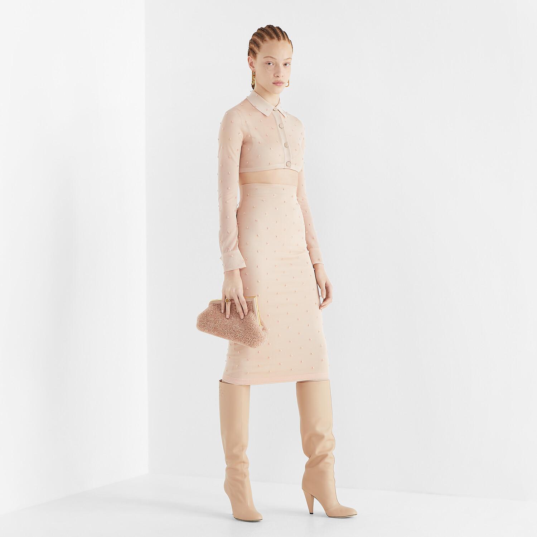 FENDI SKIRT - Pink silk skirt - view 4 detail
