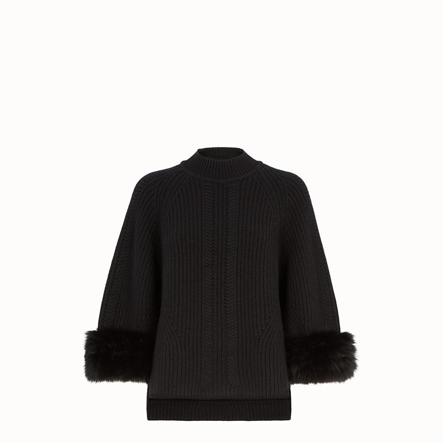 FENDI PULLOVER - Black cashmere jumper - view 1 detail