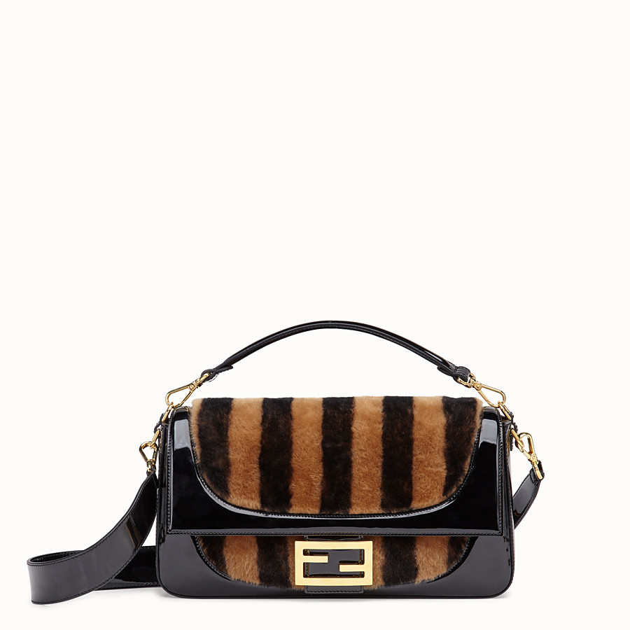 FENDI BAGUETTE LARGE - Multicolor, patent leather and sheepskin bag - view 1 detail