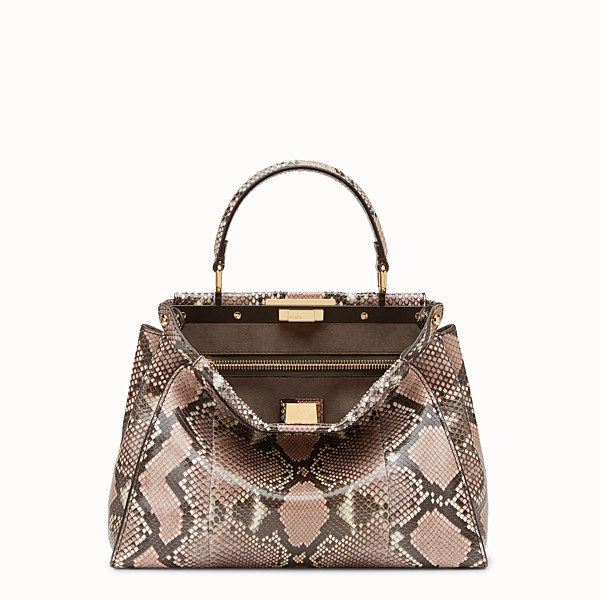 FENDI PEEKABOO REGULAR - rock-coloured python handbag - view 1 small thumbnail