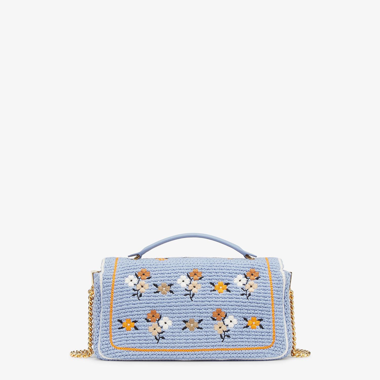 FENDI BAGUETTE - Light blue embroidered cotton bag - view 3 detail