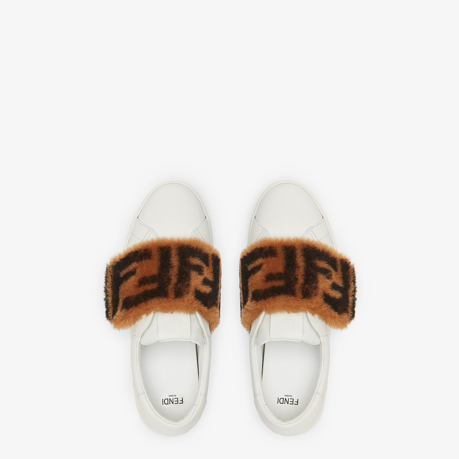 FENDI SNEAKERS - White leather slip-ons - view 4 detail