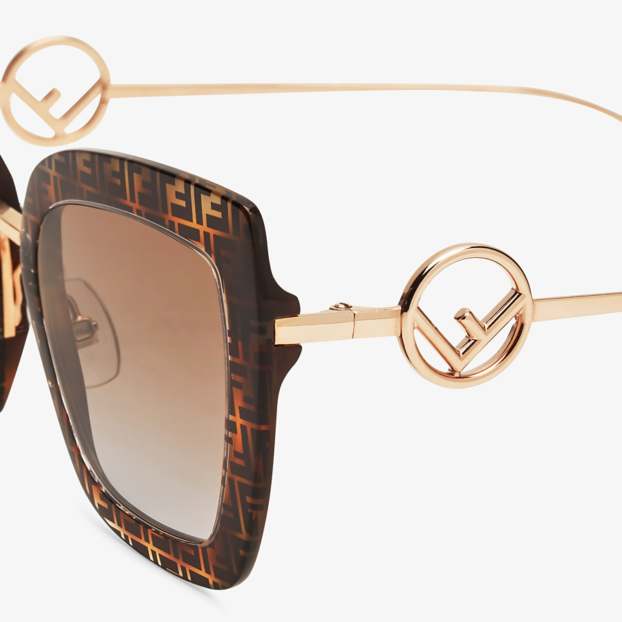 FENDI F IS FENDI - Gafas de sol de acetato havana FF y metal - view 3 detail