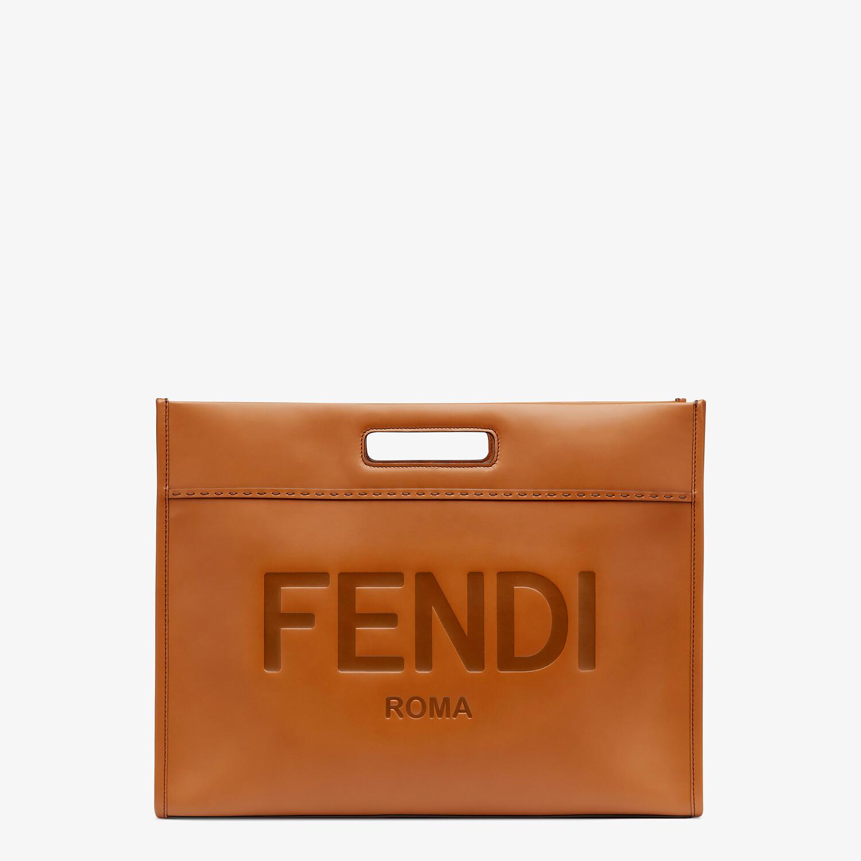 FENDI SHOPPING BAG - Brown leather shopper - view 1 detail