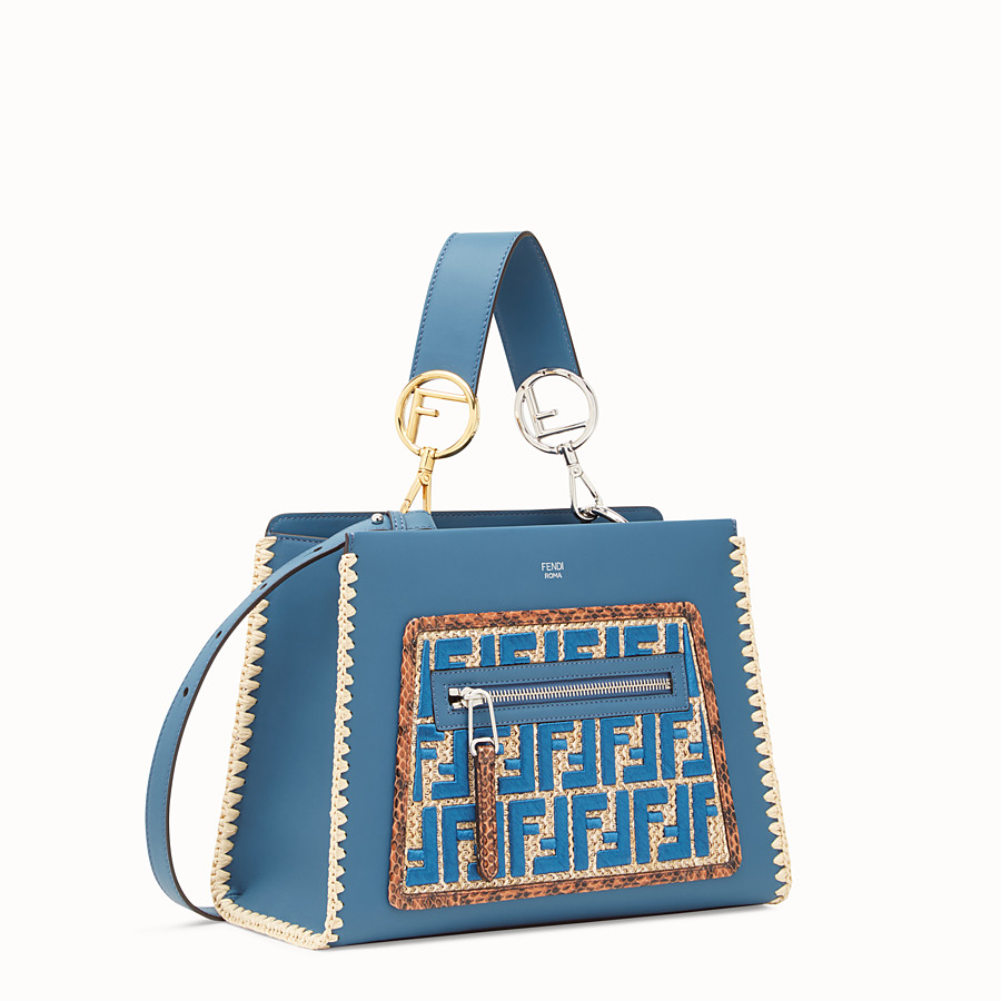 FENDI RUNAWAY SMALL - Blue leather bag with exotic details - view 2 detail