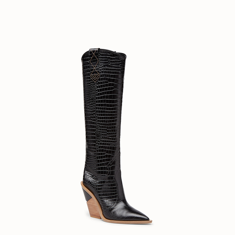 FENDI BOOTS - Black crocodile-embossed boots - view 2 detail