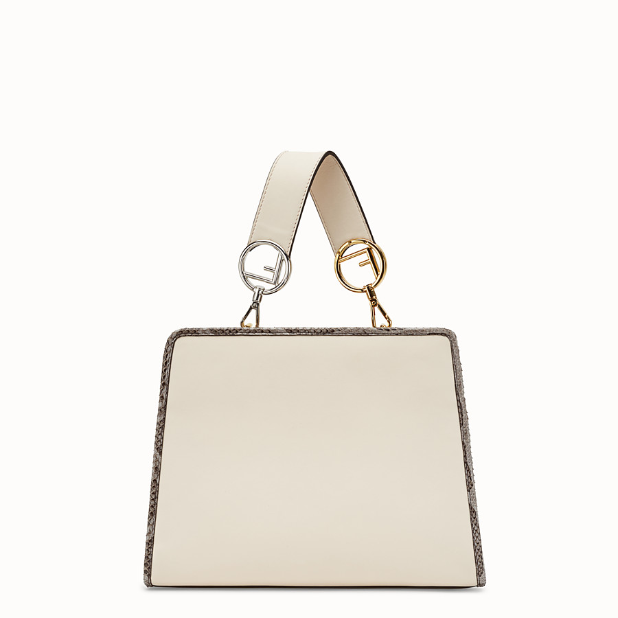 FENDI RUNAWAY SMALL - White leather bag with exotic details - view 3 detail