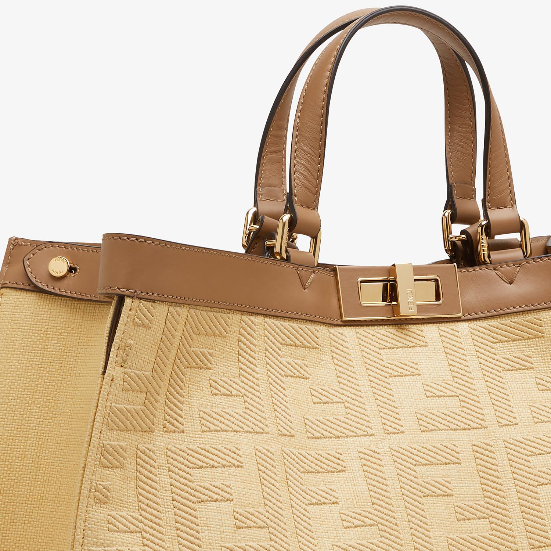 FENDI PEEKABOO X-TOTE - Embroidered beige straw bag - view 5 detail