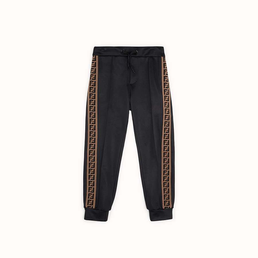 FENDI TROUSERS - Black tech fabric jogging trousers - view 1 detail