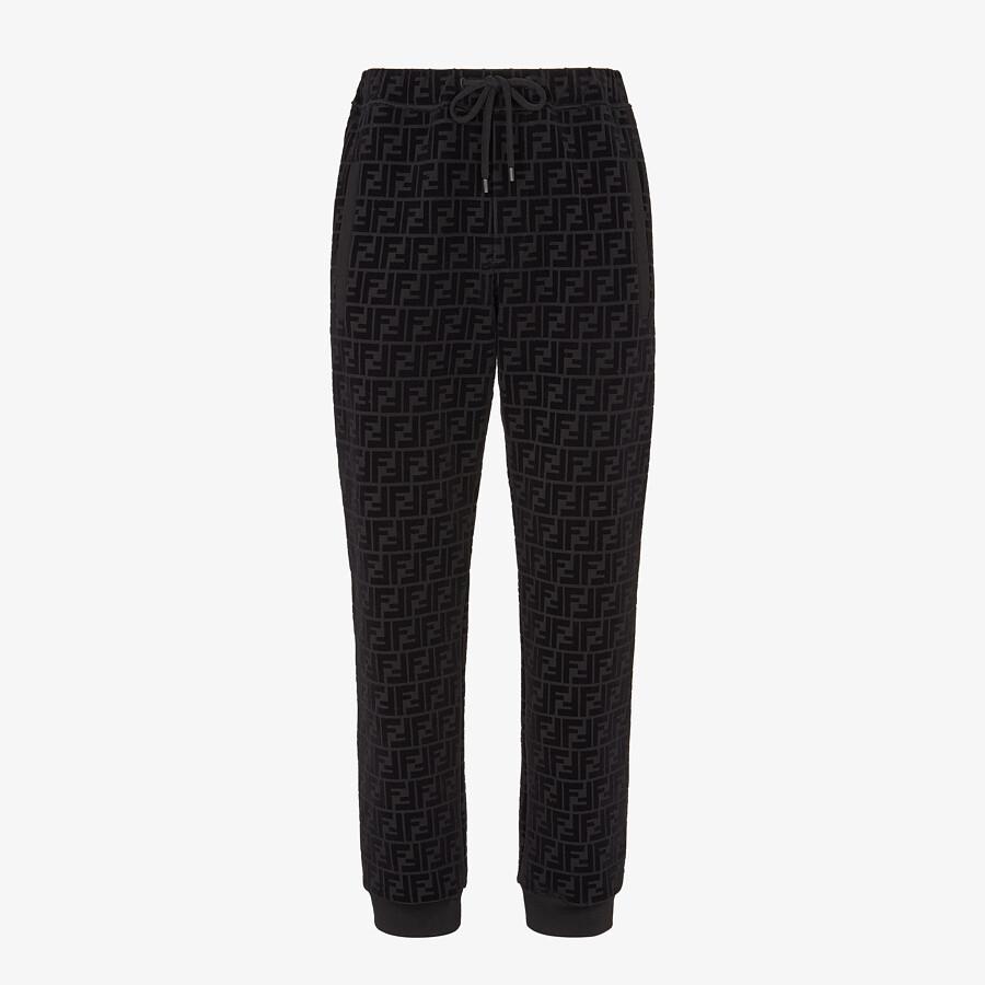 FENDI PANTS - Black piqué pants - view 1 detail