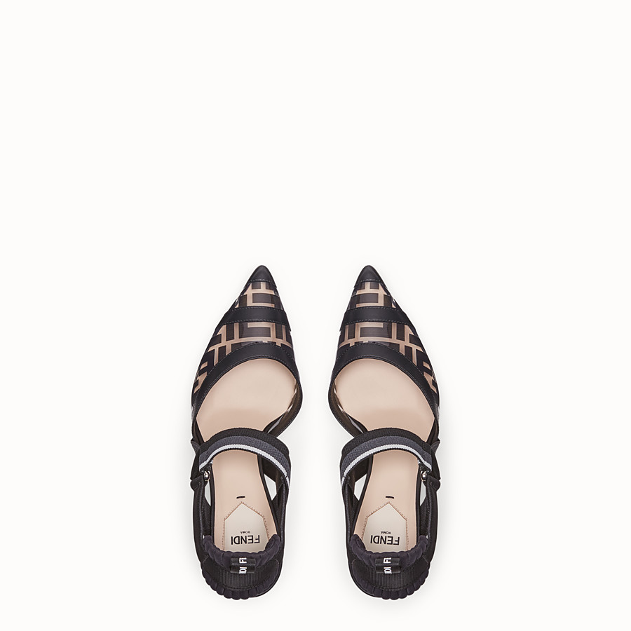 FENDI COURT SHOES - Slingbacks in PU and black leather - view 4 detail