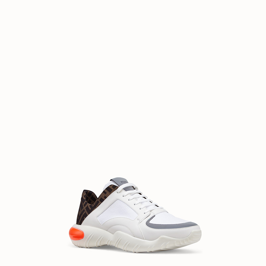 FENDI SNEAKERS - White tech fabric low-tops - view 2 detail