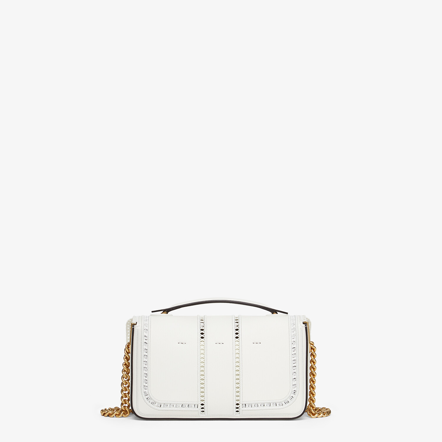 FENDI MINI BAGUETTE CHAIN - Embroidered white leather bag - view 3 detail
