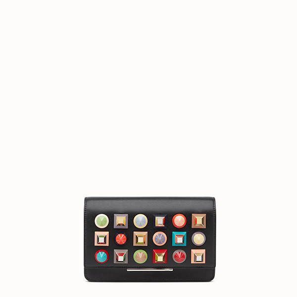 FENDI WALLET ON CHAIN - in black leather with multicoloured studs - view 1 small thumbnail