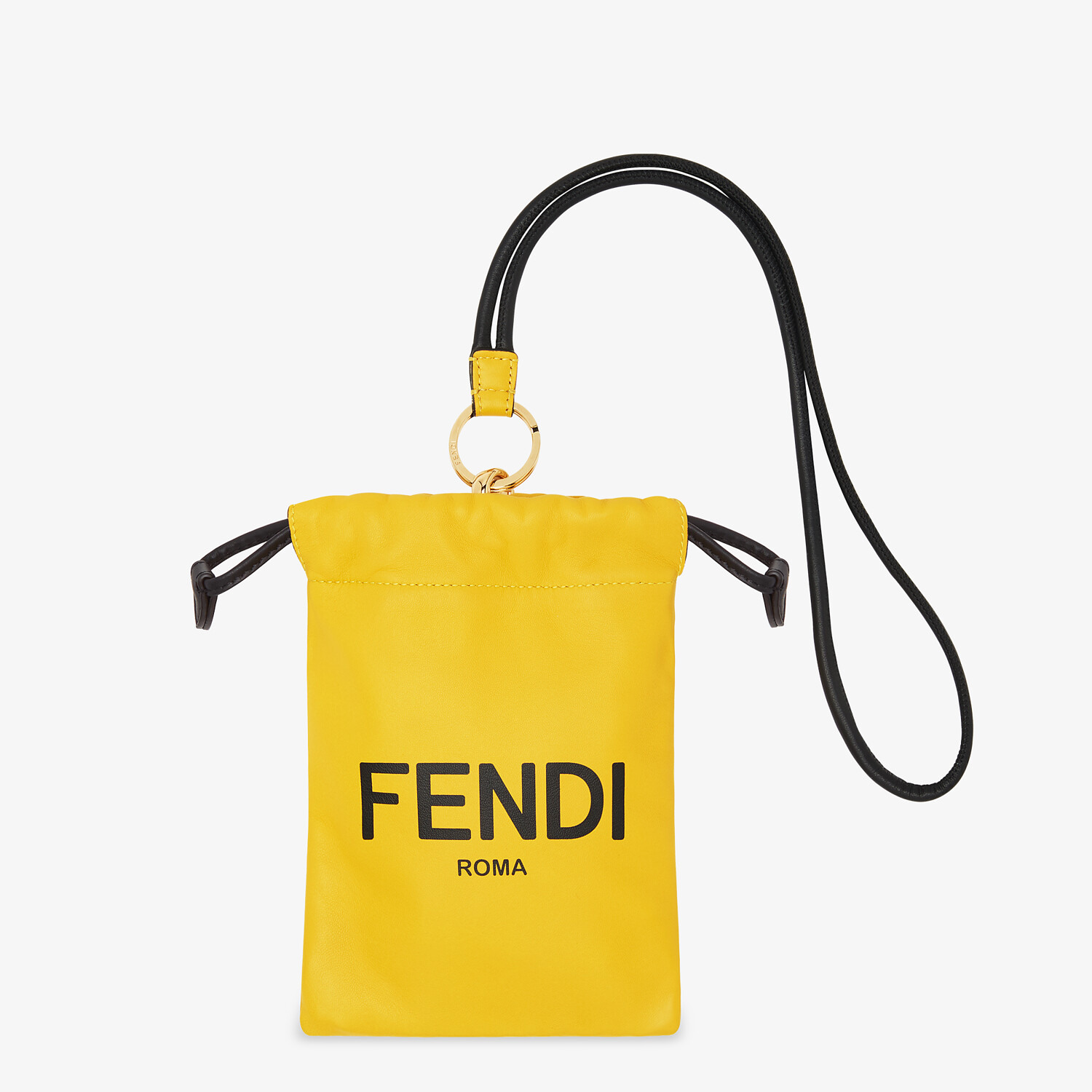 FENDI PHONE POUCH - Yellow nappa leather pouch - view 1 detail