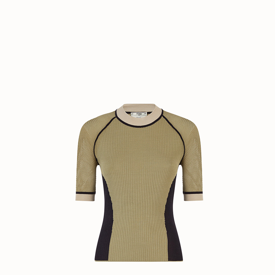 FENDI PULLOVER - Green silk jumper - view 1 detail