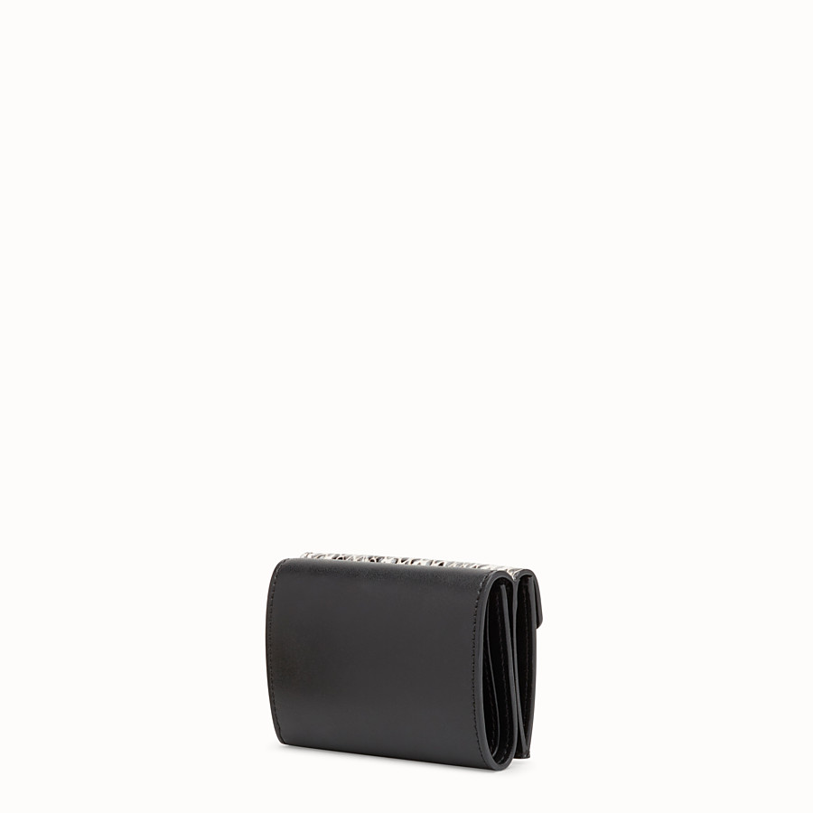 FENDI MICRO TRIFOLD - Black leather wallet with exotic details - view 2 detail