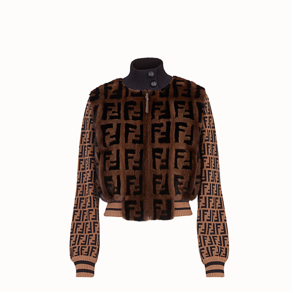 FENDI BOMBER - Inlaid mink and knitted fabric bomber - view 1 small thumbnail