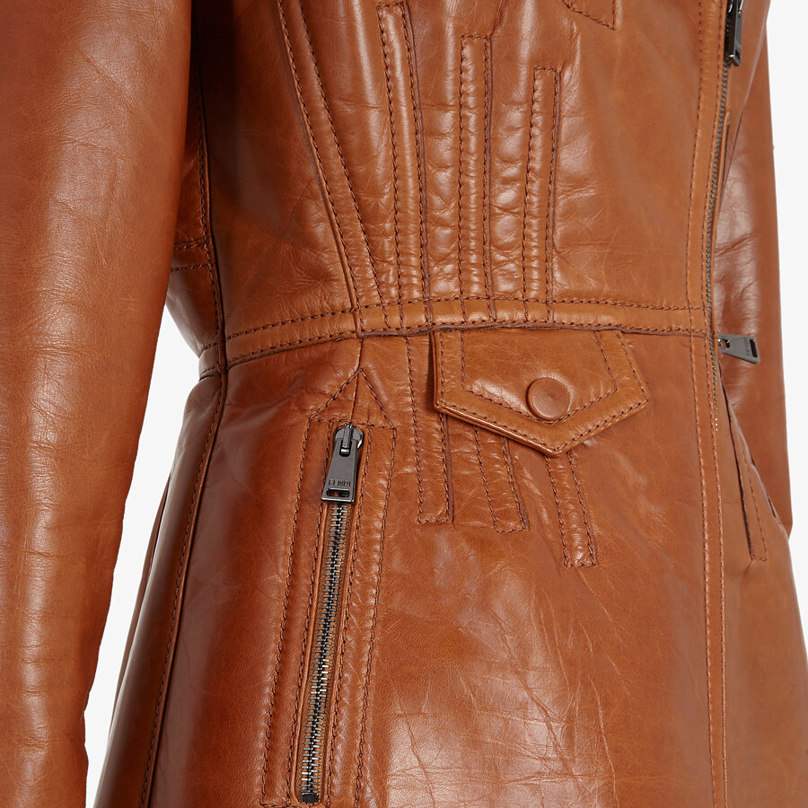 FENDI JACKET - Brown leather biker jacket - view 3 detail