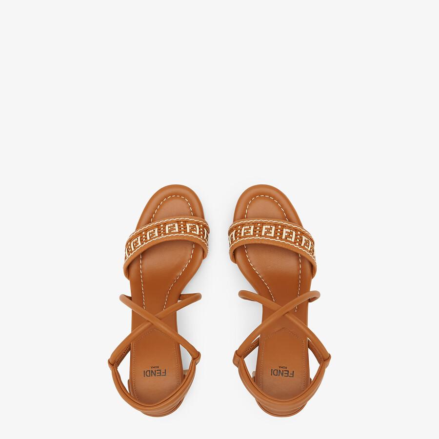 FENDI FF INTERLACE SANDALS - Brown leather sandals - view 4 detail