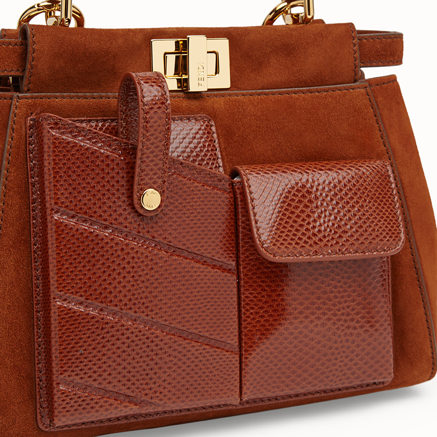 FENDI PEEKABOO ICONIC MINI - Bag in exotic, brown suede - view 5 detail