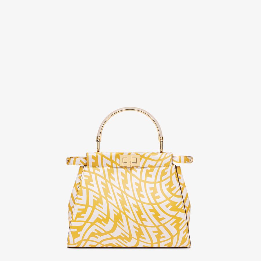 FENDI PEEKABOO MINI - Yellow and white FF Vertigo leather bag - view 1 detail