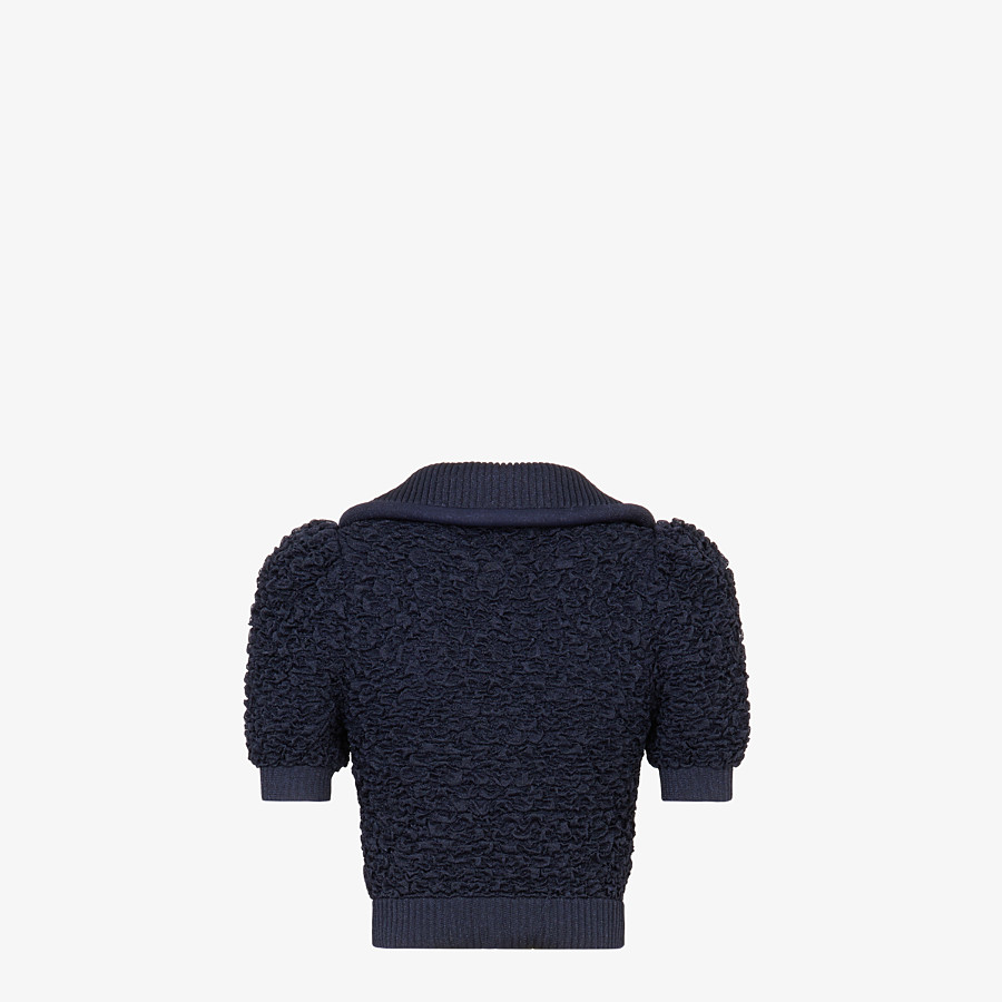FENDI PULLOVER - Blue viscose polo shirt - view 2 detail