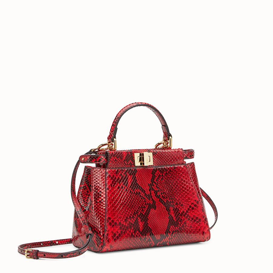 FENDI PEEKABOO MINI - Red python handbag. - view 2 detail