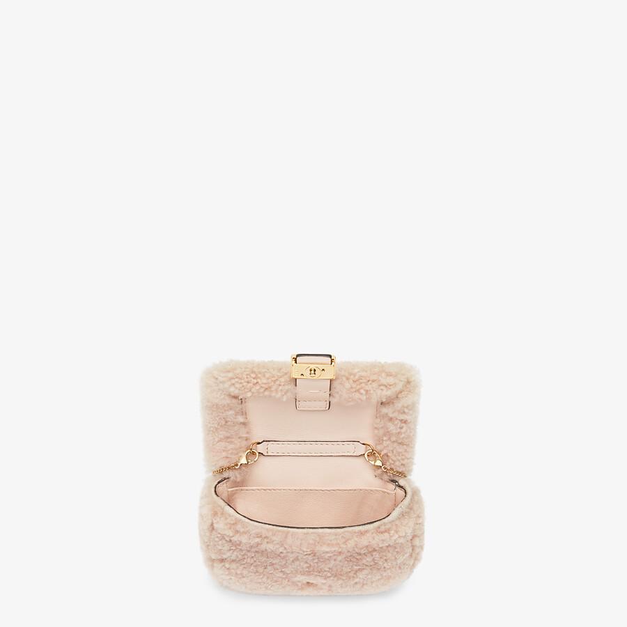 FENDI NANO BAGUETTE CHARM - Pink sheepskin charm - view 5 detail