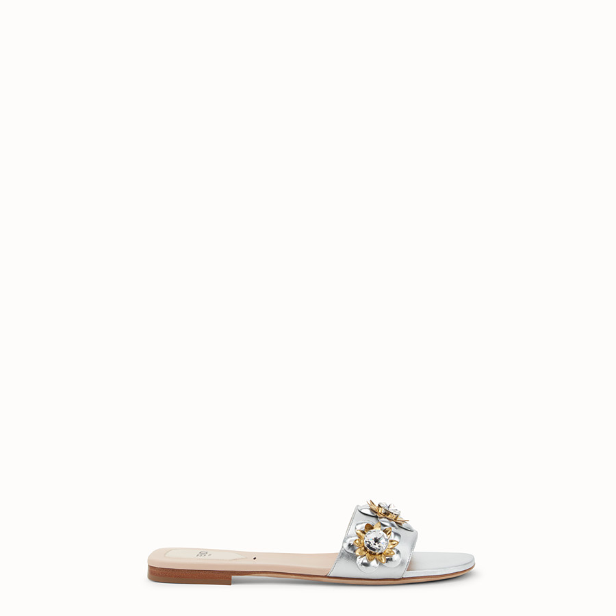 FENDI FLAT SANDALS - in silver leather and flowers - view 1 detail