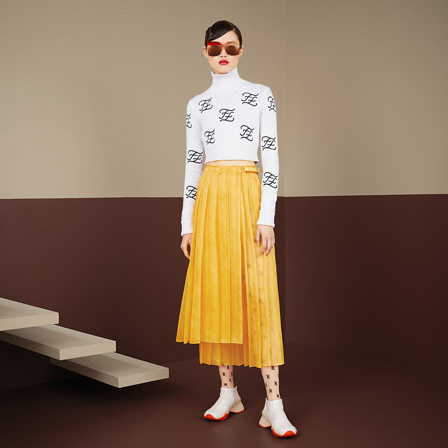 FENDI SWEATER - White wool and cashmere sweater - view 4 detail