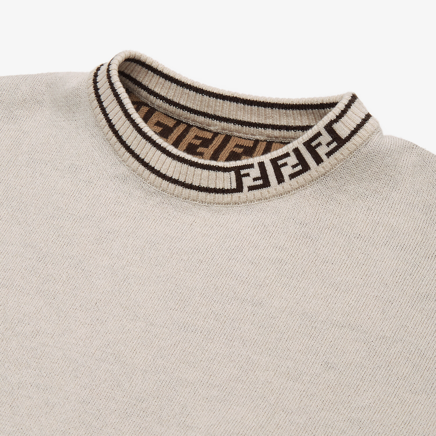 FENDI KNIT CAPE - Beige cotton and cashmere and FF logo reversible baby cape - view 3 detail