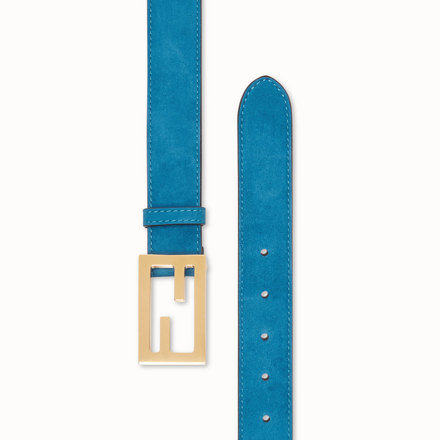 FENDI BAGUETTE BELT - Light blue suede leather belt - view 2 detail