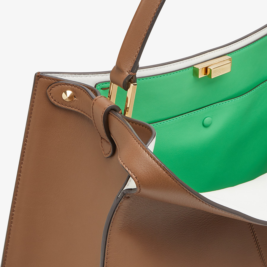FENDI PEEKABOO X-LITE LARGE - Brown leather bag - view 6 detail