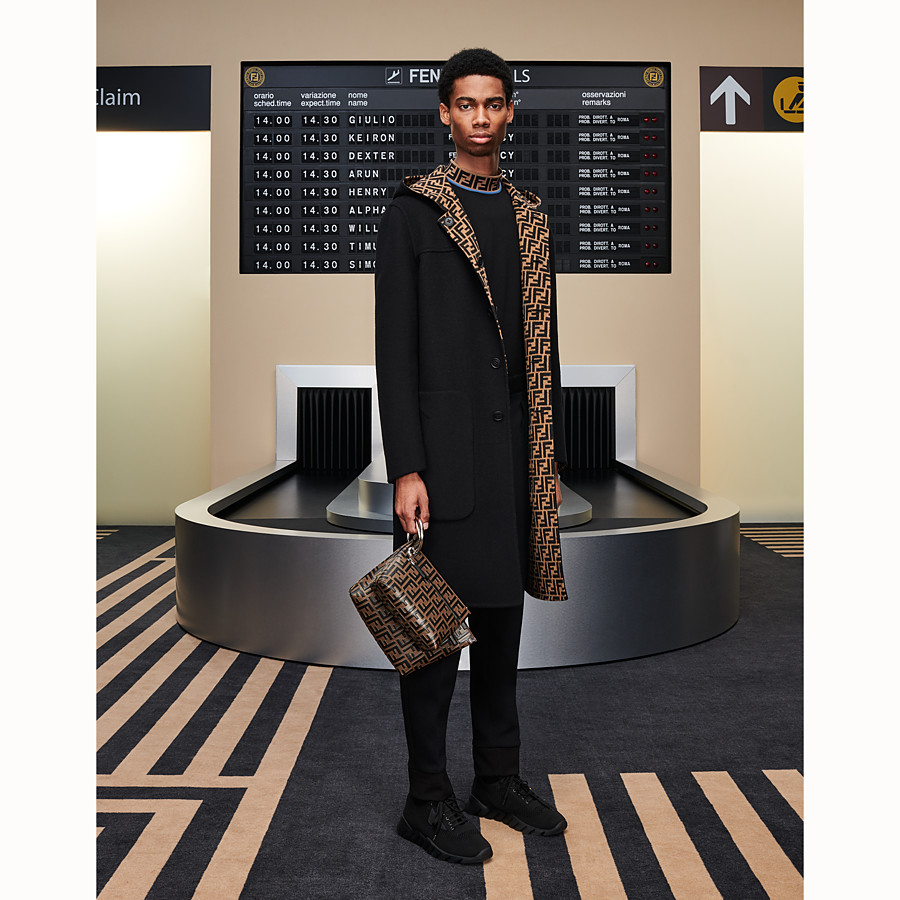 FENDI DUFFEL COAT - Brown wool coat - view 5 detail