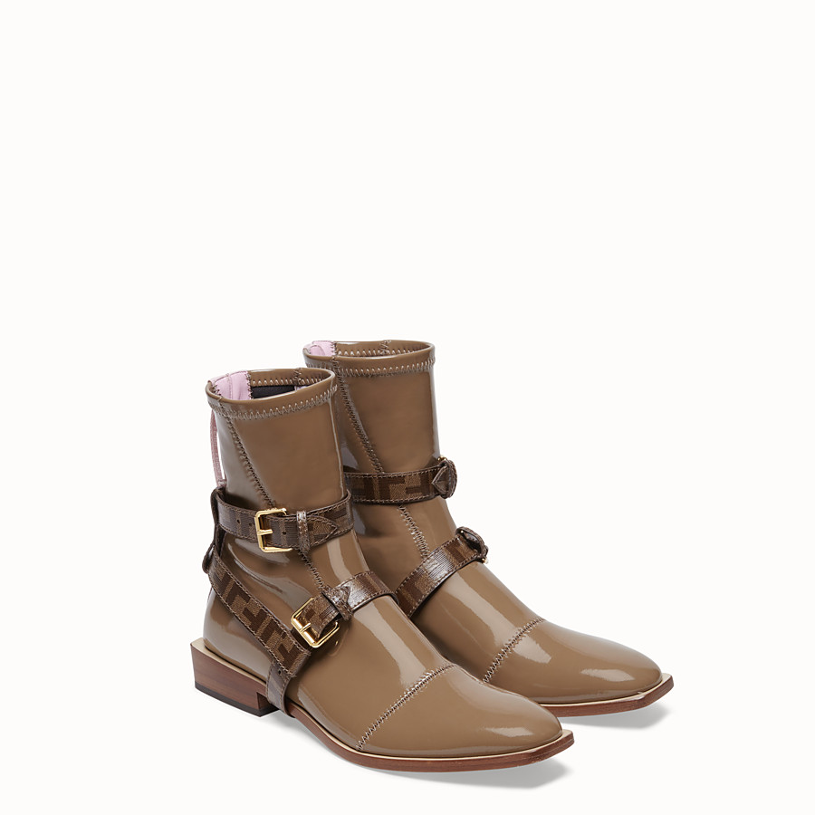 FENDI ANKLE BOOTS - Glossy beige neoprene low ankle boots - view 4 detail